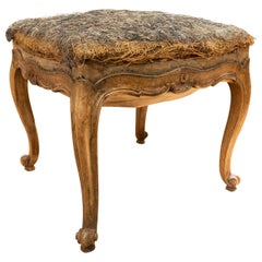 Elegant Small French Louis XV Walnut and Upholstered Footstool