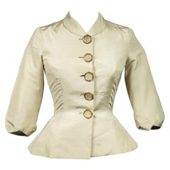 An Elsa Schiaparelli Bar Jacket in Cream Silk Numbered 89254 Circa 1947-1950