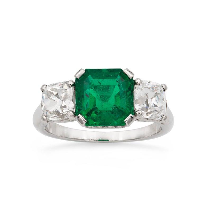 Art Deco Emerald and Diamond Three-Stone Ring For Sale