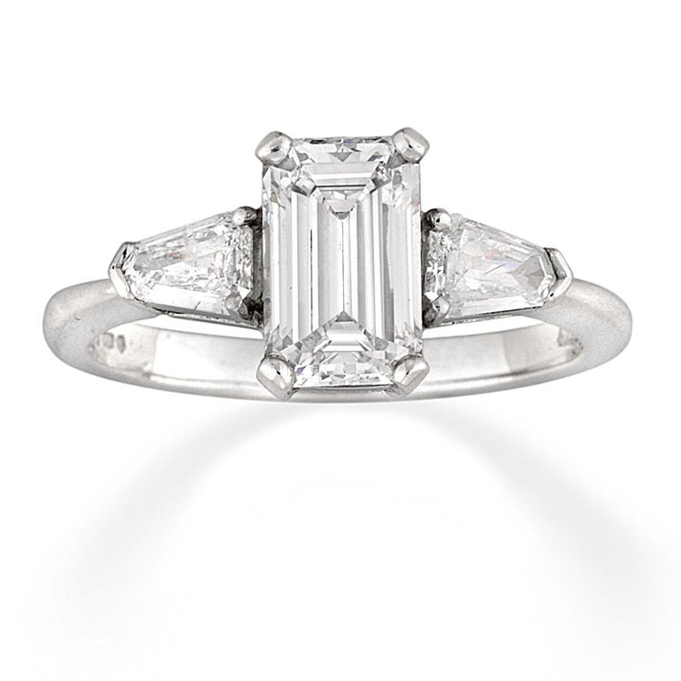 Modern Emerald-Cut Solitaire Diamond Ring For Sale