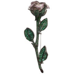 Emerald, Pink Sapphire and Diamond Brooch Mounted in 18 Karat Gold and Silver