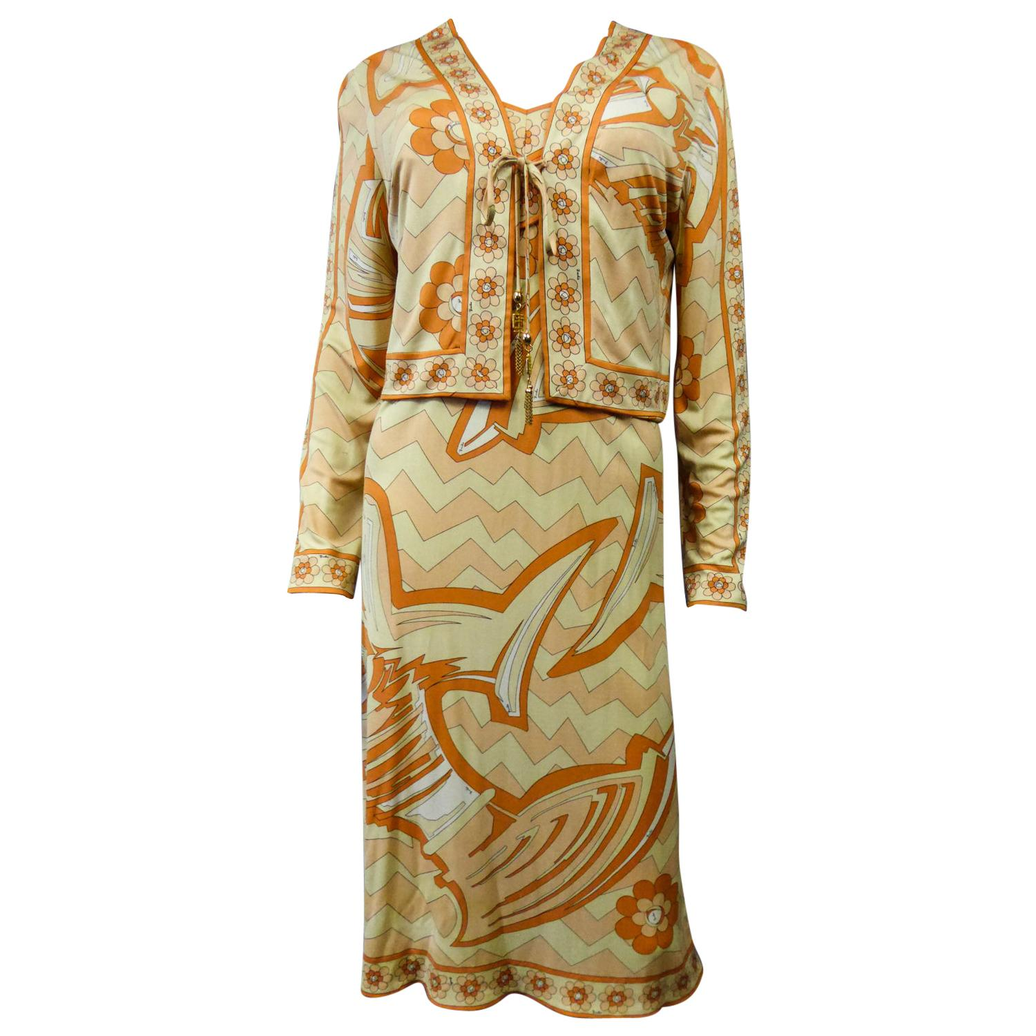 An Emilio Pucci Dress and Vest Set in Printed Jersey Circa 1960/1970