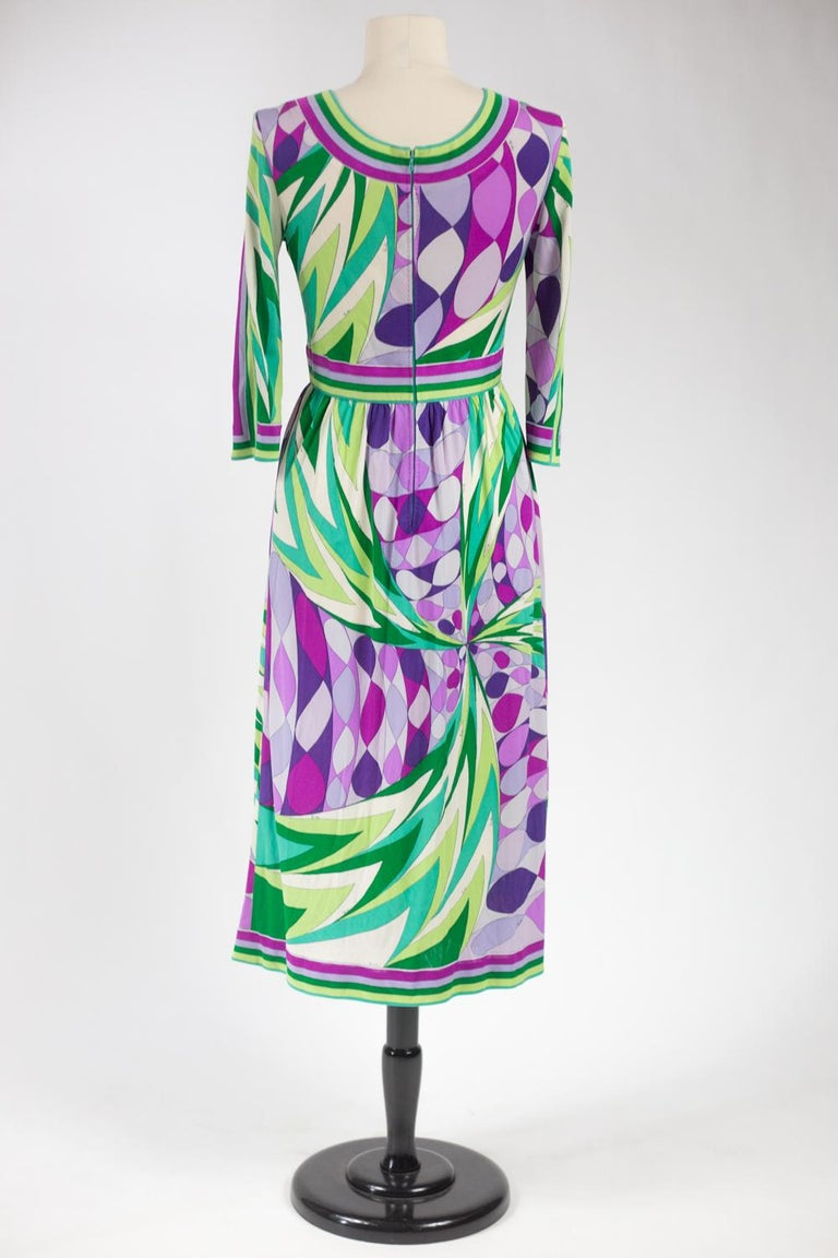 An Emilio Pucci Printed Silk Jersey Dress - Italy Circa 1970 For Sale 6