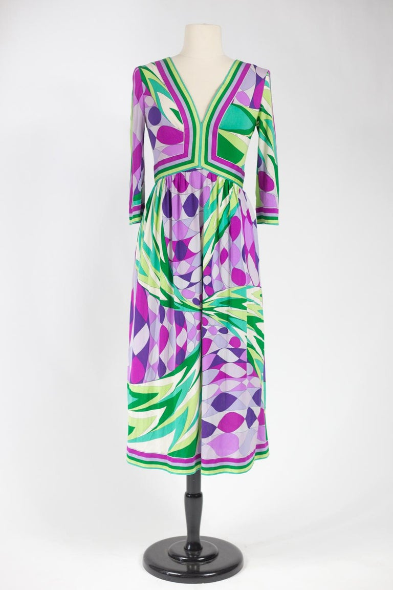 An Emilio Pucci Printed Silk Jersey Dress - Italy Circa 1970 For Sale 2