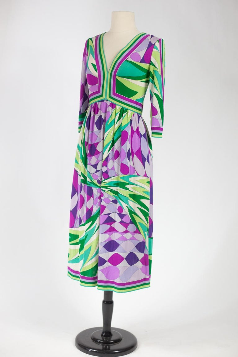 An Emilio Pucci Printed Silk Jersey Dress - Italy Circa 1970 For Sale 4
