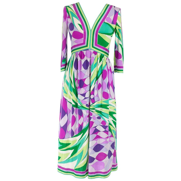 An Emilio Pucci Printed Silk Jersey Dress - Italy Circa 1970 For Sale