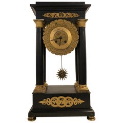 Empire Marble and Bronze Mantel Clock, Working
