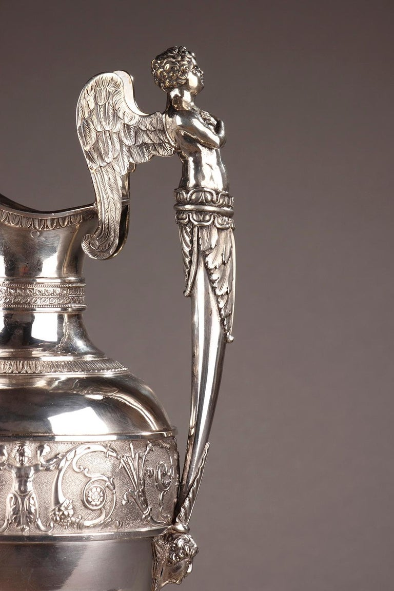 Empire Silver Ewer with its Bowl by Edme Gelez In Good Condition For Sale In Paris, FR