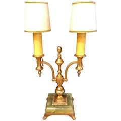 Empire Style Onyx Base Bouiliotte Lamp, 1920s