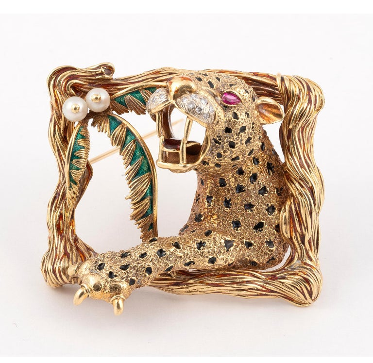 Retro Enamel Rubies and Diamond Lion Brooch Frascarolo For Sale