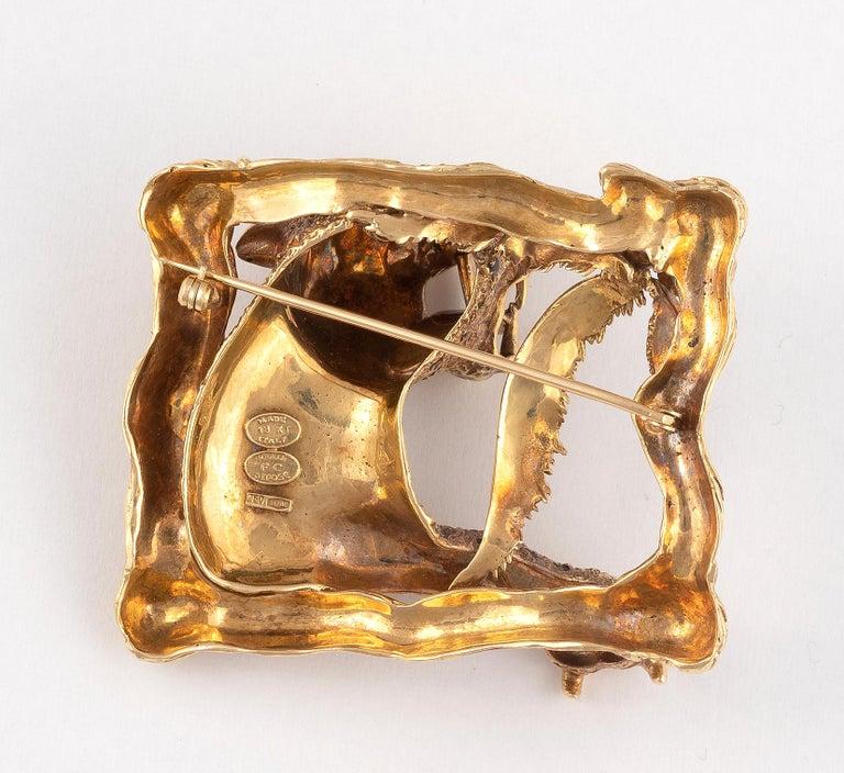 Brilliant Cut Enamel Rubies and Diamond Lion Brooch Frascarolo For Sale
