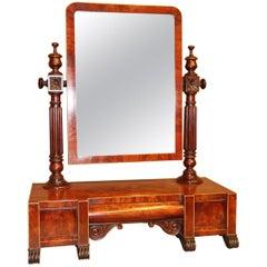 English 19th Century Flame Mahogany William IV Adjustable Dressing Table Mirror