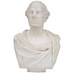 English 19th Century White Carrara Marble Bust of a Classical Gentleman