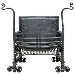 An English Antique Arts & Crafts Wrought Iron Fire Grate