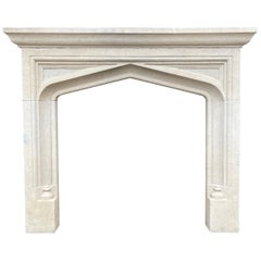English Carved Bath Stone Fireplace Mantel in The Gothic Manner