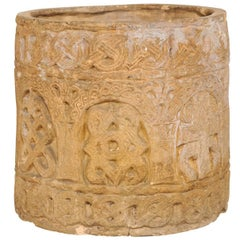 English Clay Pot from the Early to Mid-20th Century with Celtic Patterns