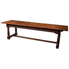 English Cromwellian Oak Refectory Table, 17th Century
