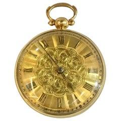 English Fusee 18 Karat Gold Pocket Watch Signed Bartholomew, London