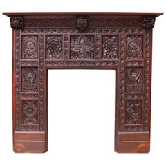 English Jacobean Revival Carved Oak Fireplace