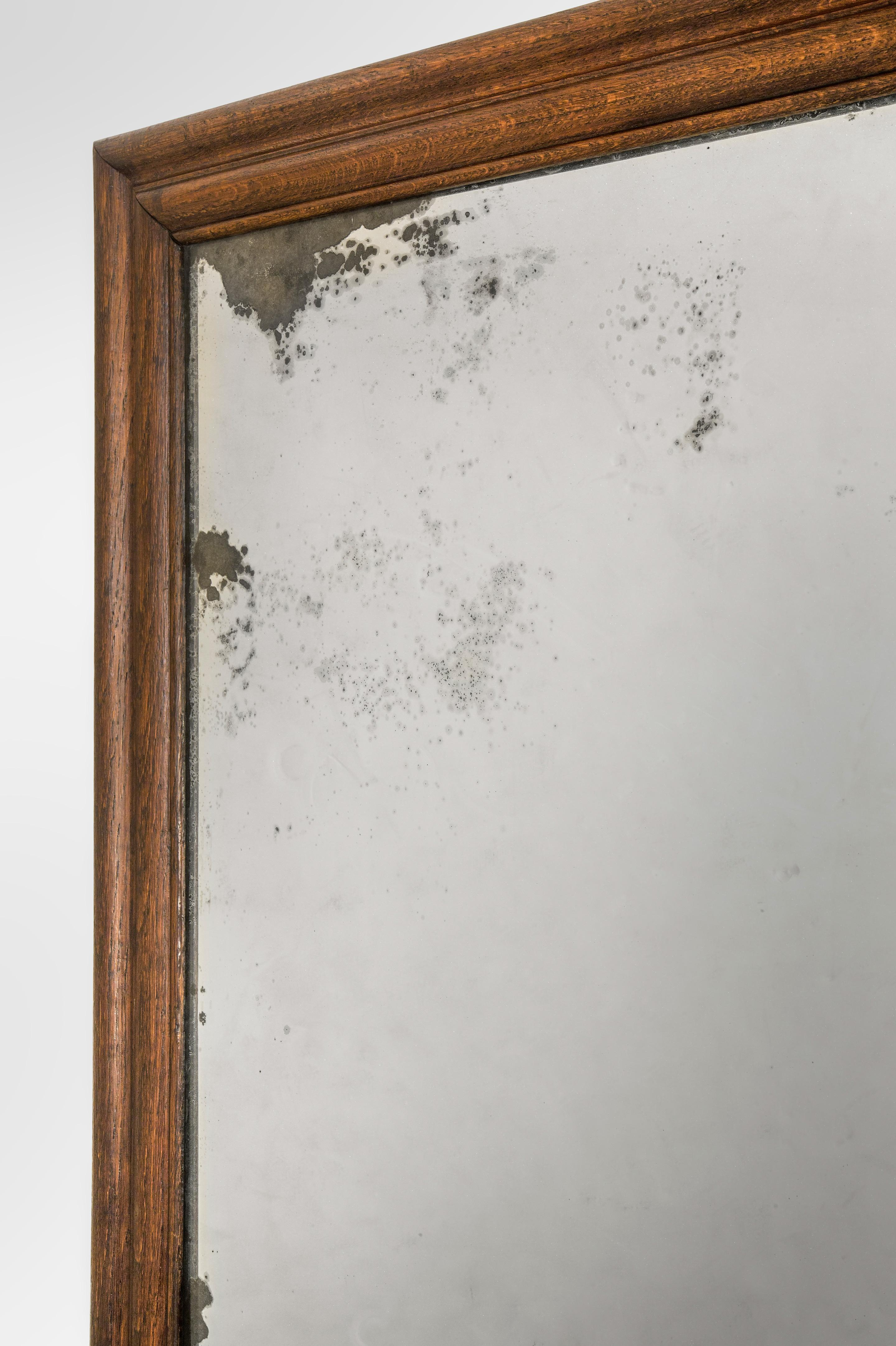 An English Large Oak Framed Mirror With Antique Glass 19th Century This  Unusually Large Mirror Features