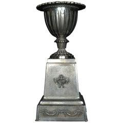 English Polished Cast Iron Urn on Plinth