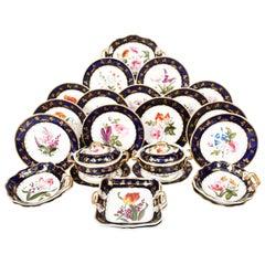 English Porcelain Botanical Handpainted Dessert Service, C.1820