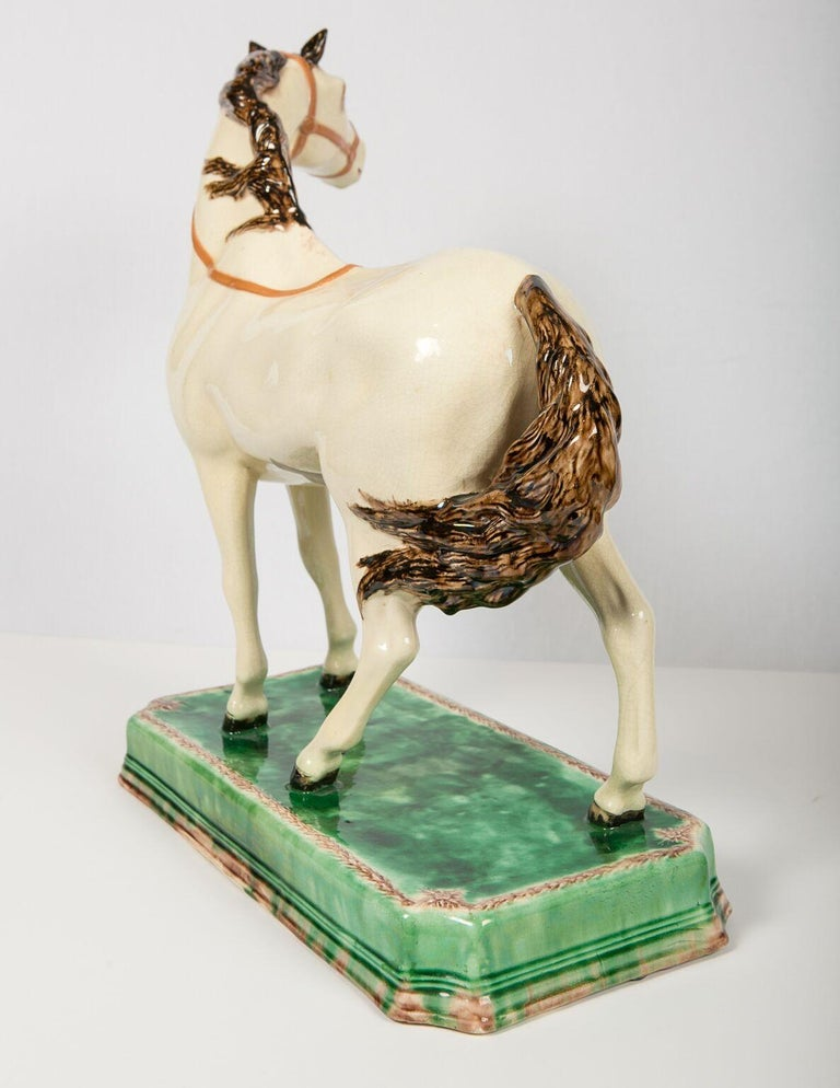 A Large English Pottery Racing Horse Made Circa 1890-1900 For Sale 2