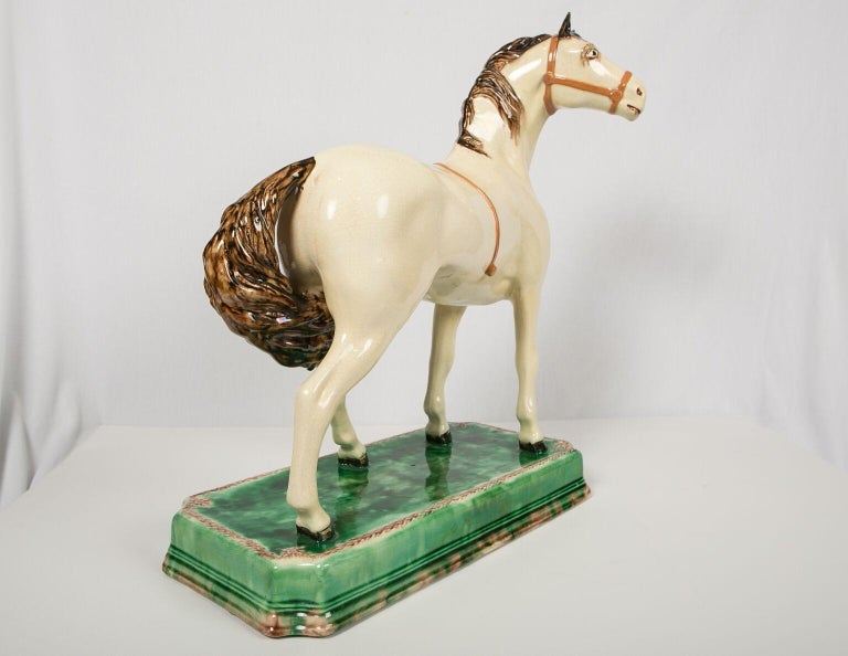 A Large English Pottery Racing Horse Made Circa 1890-1900 For Sale 3