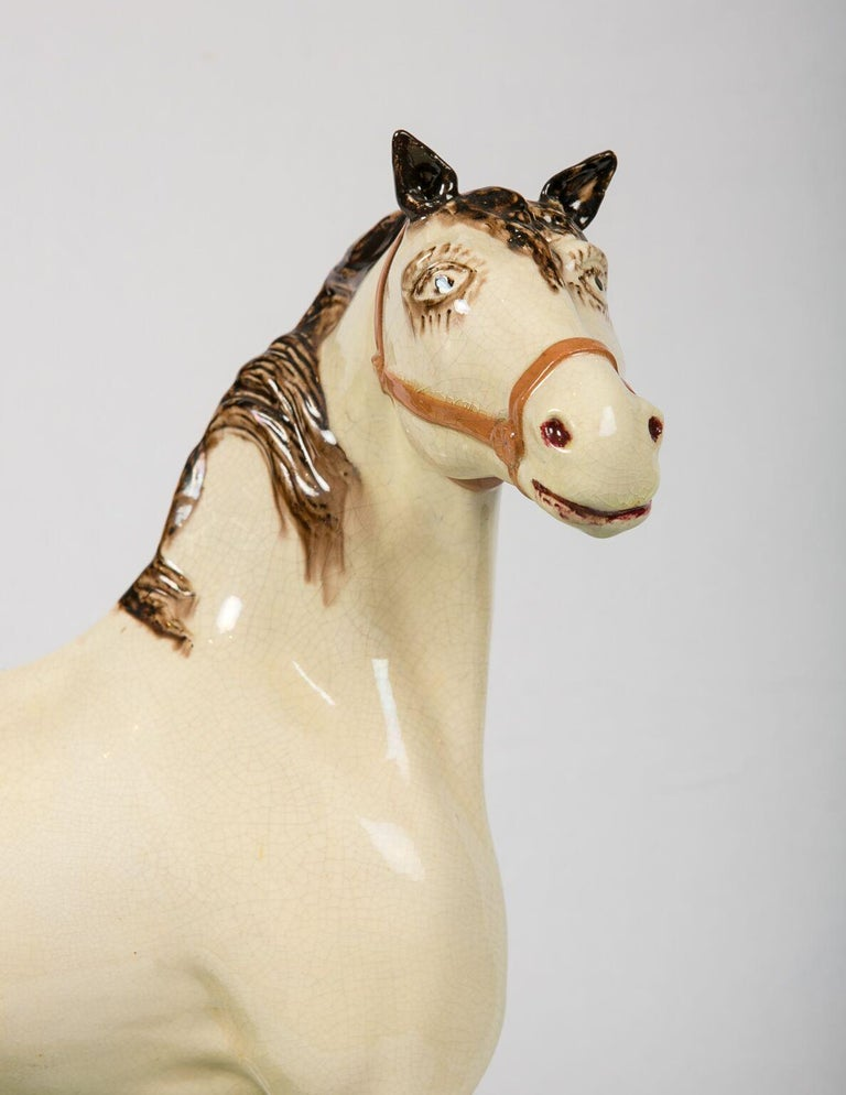 Glazed A Large English Pottery Racing Horse Made Circa 1890-1900 For Sale
