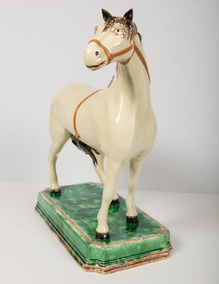 19th Century A Large English Pottery Racing Horse Made Circa 1890-1900 For Sale