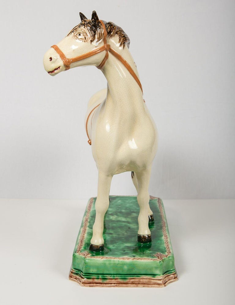 Creamware A Large English Pottery Racing Horse Made Circa 1890-1900 For Sale