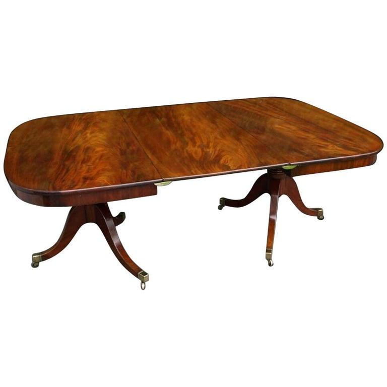 English Regency Period Mahogany Twin Pedestal Dining Table, circa 1825