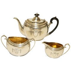 English Silver Hand Engraved Tea Set by Edward Barnard and Sons, 1904-1905