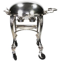 English Silver Plated Art Nouveau Meat Carving Trolley Cart by Elkington