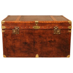 English Travel Chest in Leather, Early 20th Century