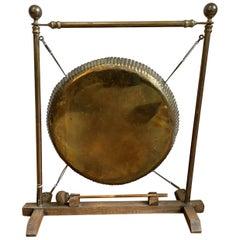 English Vintage Brass and Oak Framed Dinner Gong