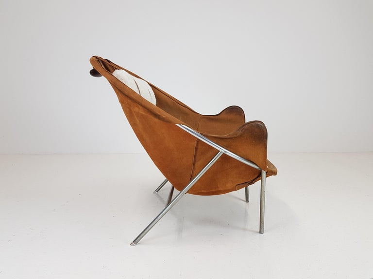 Erik Ole Jørgensen Lounge Chair for Olaf Black, in Cognac Suede, Denmark, 1953 3