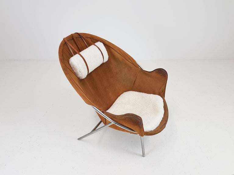 Erik Ole Jørgensen Lounge Chair for Olaf Black, in Cognac Suede, Denmark, 1953 4