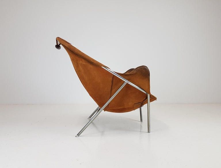 Erik Ole Jørgensen Lounge Chair for Olaf Black, in Cognac Suede, Denmark, 1953 5