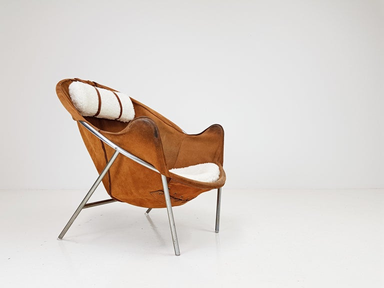 Erik Ole Jørgensen Lounge Chair for Olaf Black, in Cognac Suede, Denmark, 1953 6