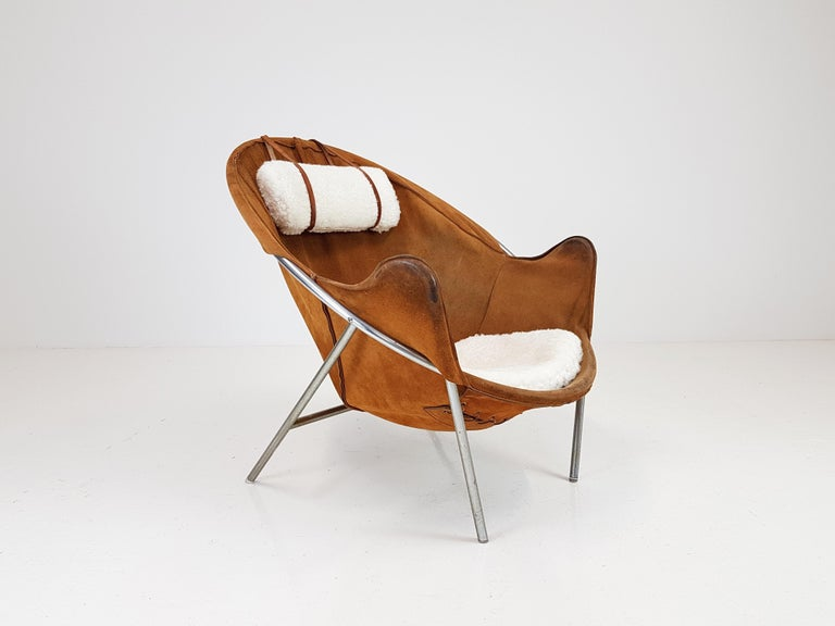 An Erik Ole Jørgensen lounge chair for Olaf Black, in Cognac suede, Denmark, 1953. 