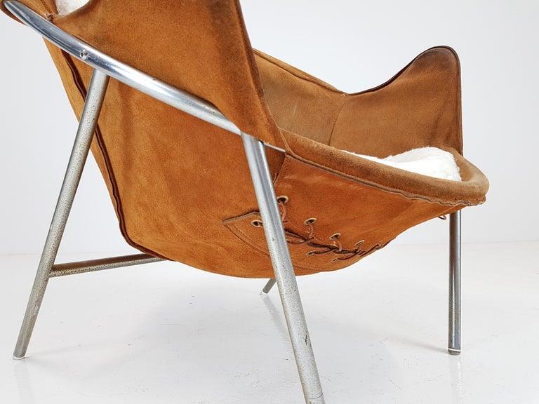 Mid-Century Modern Erik Ole Jørgensen Lounge Chair for Olaf Black, in Cognac Suede, Denmark, 1953
