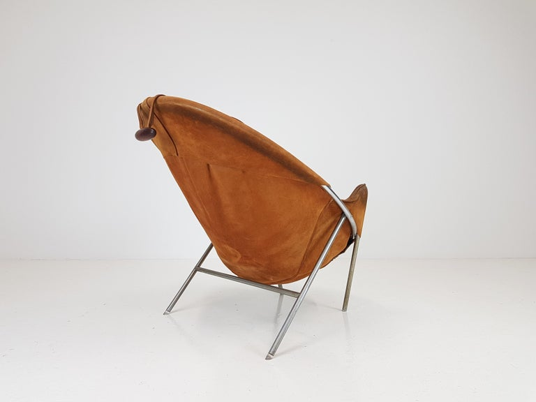 Erik Ole Jørgensen Lounge Chair for Olaf Black, in Cognac Suede, Denmark, 1953 In Good Condition In London Road, Baldock, Hertfordshire