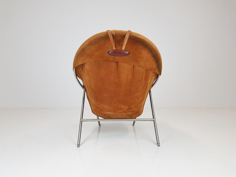 20th Century Erik Ole Jørgensen Lounge Chair for Olaf Black, in Cognac Suede, Denmark, 1953