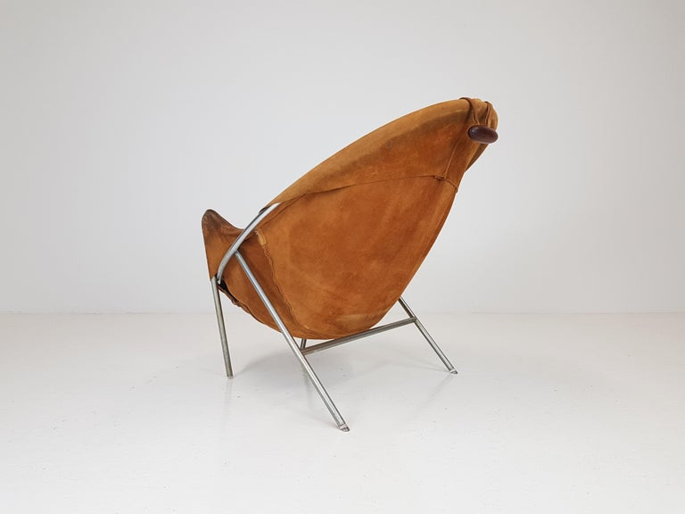 Chrome Erik Ole Jørgensen Lounge Chair for Olaf Black, in Cognac Suede, Denmark, 1953