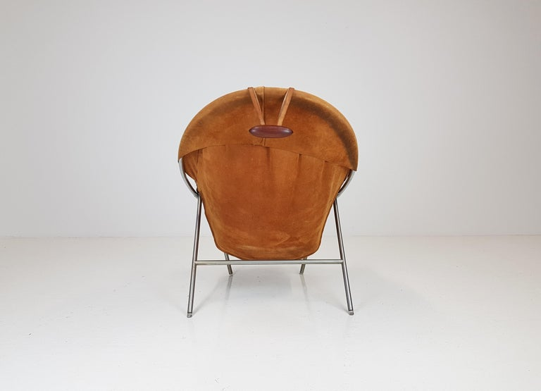 Erik Ole Jørgensen Lounge Chair for Olaf Black, in Cognac Suede, Denmark, 1953 2