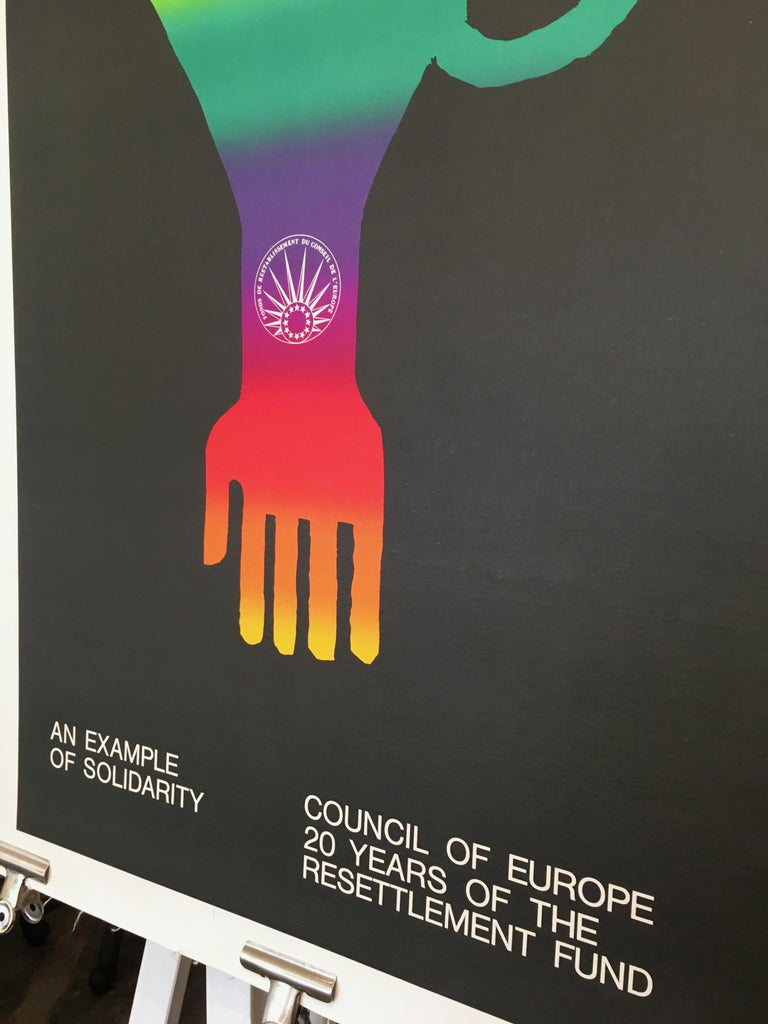 20th Century 'An Example of Solidarity - Council of Europe' Original Vintage Poster by Piatti For Sale