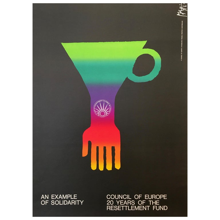 'An Example of Solidarity - Council of Europe' Original Vintage Poster by Piatti For Sale