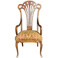 Exceptional and Large French Art Nouveau Mahogany Armchair, Eugene Gaillard