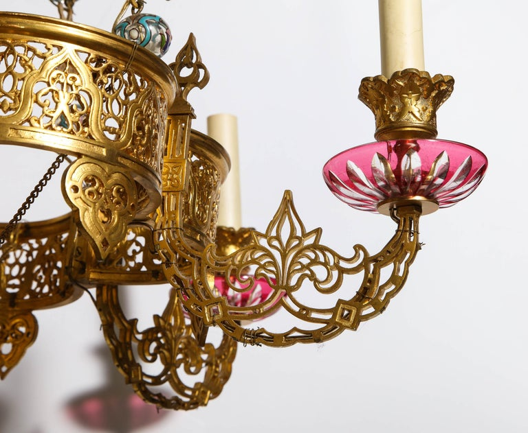 Exceptional and Rare Islamic Alhambra Bronze and Enameled Glass Chandelier For Sale 5
